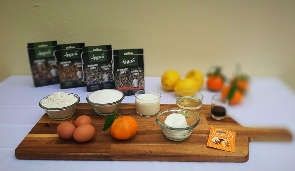 Ingredientes de las magdalenas de mandarinas con aromatic chips naranjo.