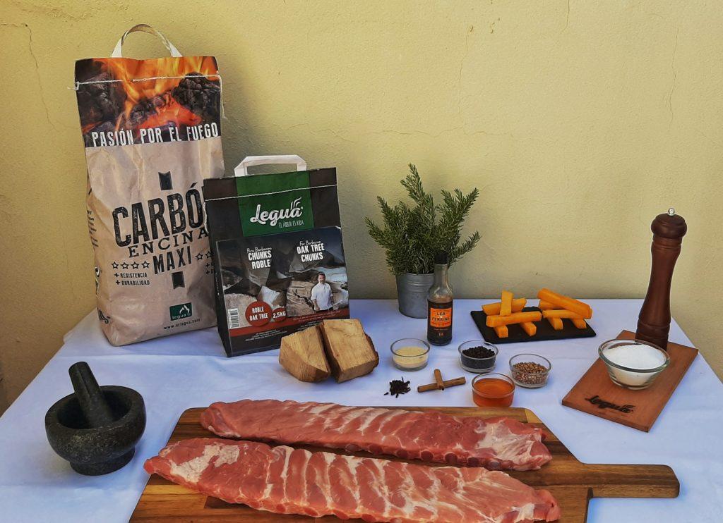 Cocina con carbón y chunks de roble de Legua.